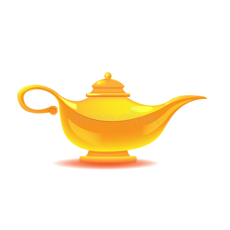 Aladdin Yellow Lamp Isolated Object Vector. Aladdin Yellow Lamp Isolated Object vector illustration