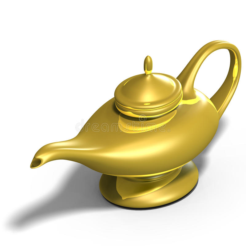 Aladdins magical lamp. The magical lamp of Aladdin. 3D render with clipping path and shadow over white royalty free illustration
