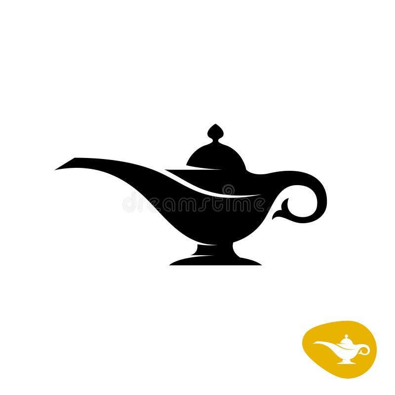 Aladin灯剪影 简单的黑传染媒介标志 库存例证