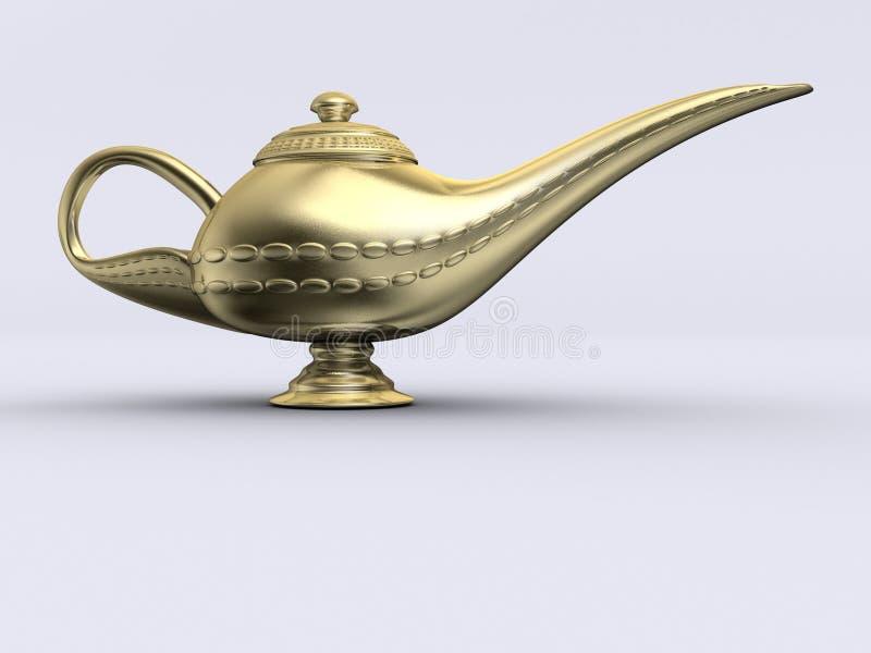 Aladin golden lamp. A gloden aladin on white background - rendered in 3d stock illustration