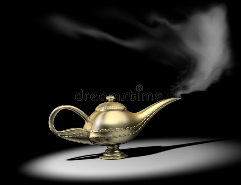 Aladin lamp 1. A gloden aladin on spot light - rendered in 3d royalty free illustration