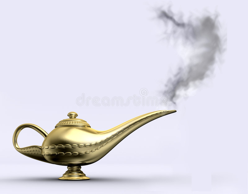 Aladin lamp 1. A gloden aladin lamp on white background - rendered in 3d stock illustration