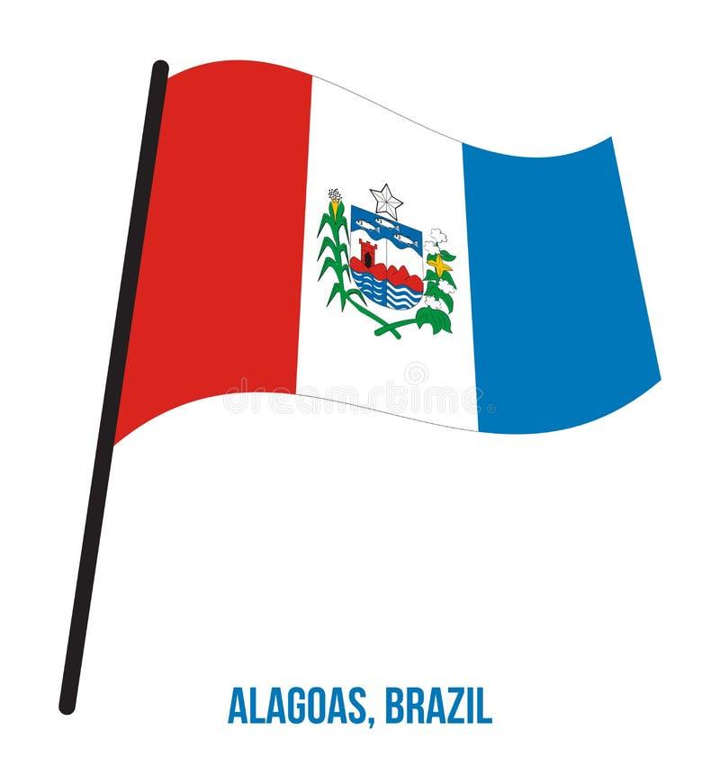 Alagoas Flag Waving Vector Illustration on White Background. States Flag of Brazil. stock illustration