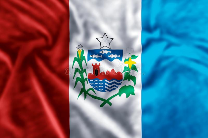 Alagoas flag illustration. Alagoas waving and closeup flag illustration. Usable for background and texture stock illustration