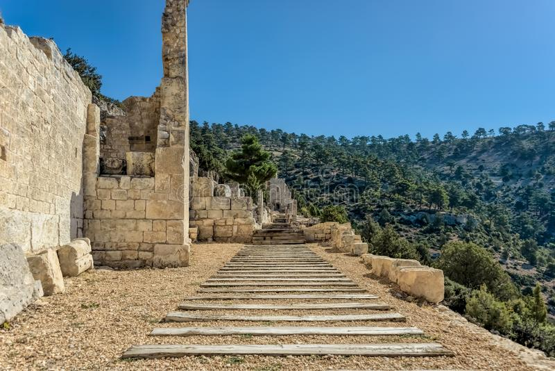 Alahan is a late Roman ecclesiastical complex, a monastry near Mersin, Anatolia, Turkey. Alahan is a late Roman ecclesiastical complex a monastry built on a stock images