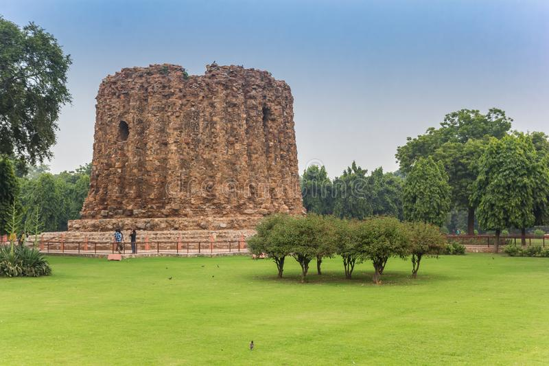 Alai Minar monument at the Qutub Minar site in New Delhi royalty free stock images
