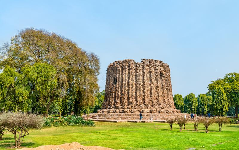Alai Minar, an uncompleted minaret at the Qutb complex in Delhi, India stock photo