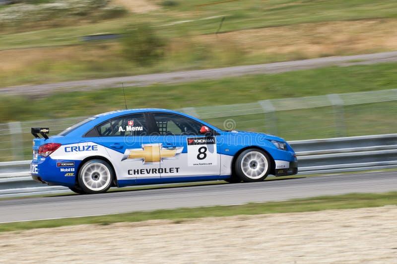 Alain-Menü von Chevrolet in der Tätigkeit an FIA WTCC Yo lizenzfreie stockbilder