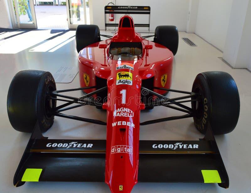 Alain Prost Formel 1 Rennwagen in Modena Ferrari Museum lizenzfreie stockfotografie