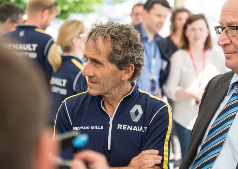 Alain Prost under den FIA Formula E racerbilen 2016 royaltyfri fotografi