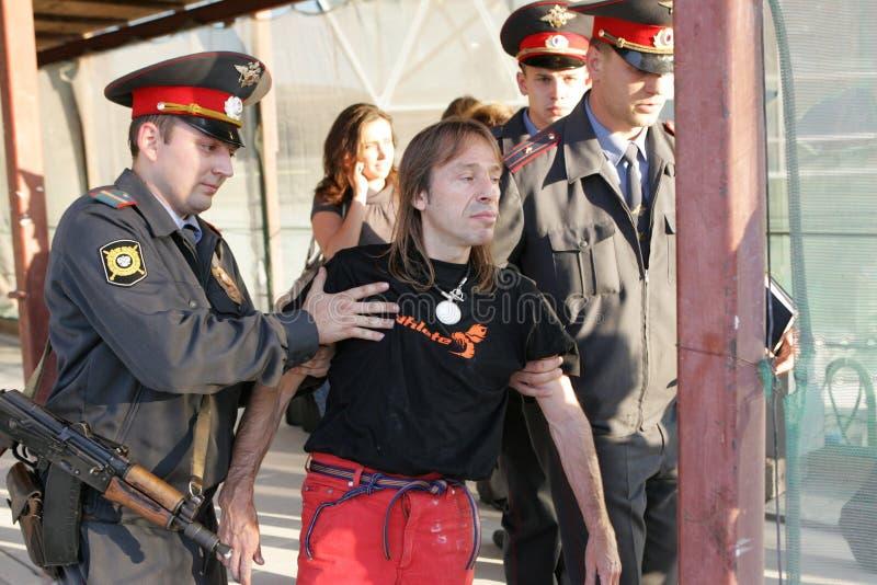 Alain Robert prendido em Moscovo fotografia de stock