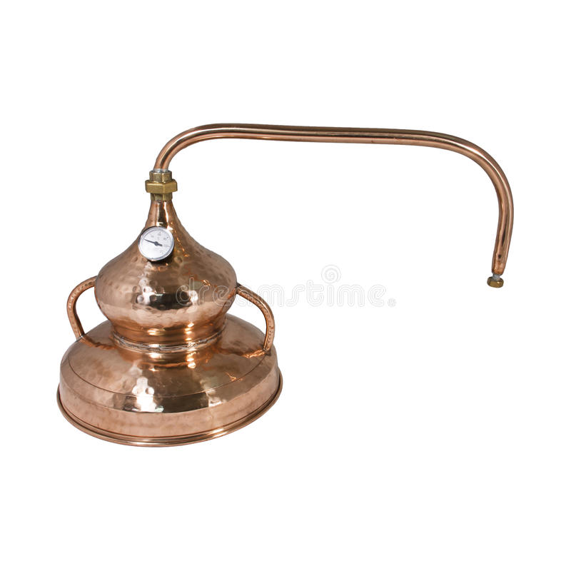 Alambic. An alembic from Arabic الإنبيق al-anbīḳ; from Greek ἄμβιξ ambix, meaning `cup, beaker` is an stock images