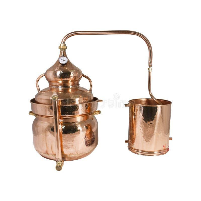 Alambic. An alembic from Arabic الإنبيق al-anbīḳ; from Greek ἄμβιξ ambix, meaning `cup, beaker` is an stock photo