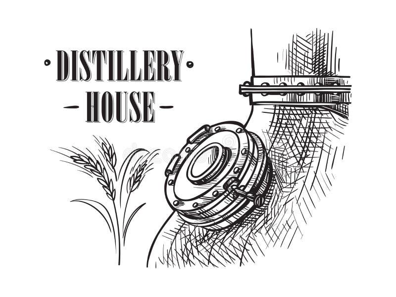 Alambic toujours pour préparer l'alcool à l'intérieur du croquis de distillerie illustration de vecteur