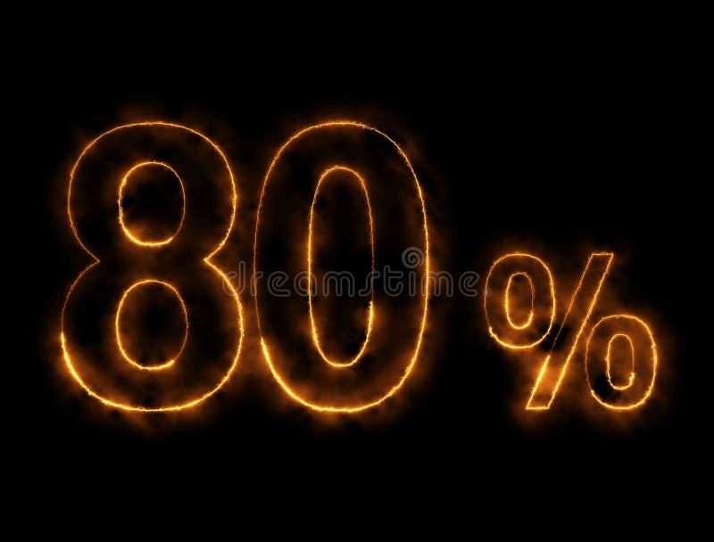 alambre ardiendo del número del 80%, efecto del relámpago imagen de archivo