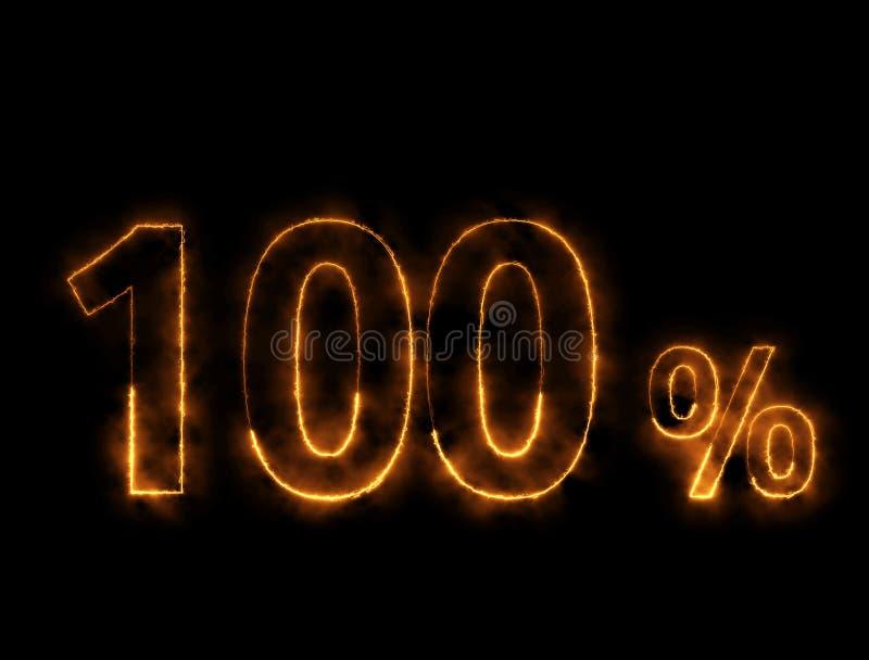 alambre ardiendo del número del 100%, efecto del relámpago foto de archivo