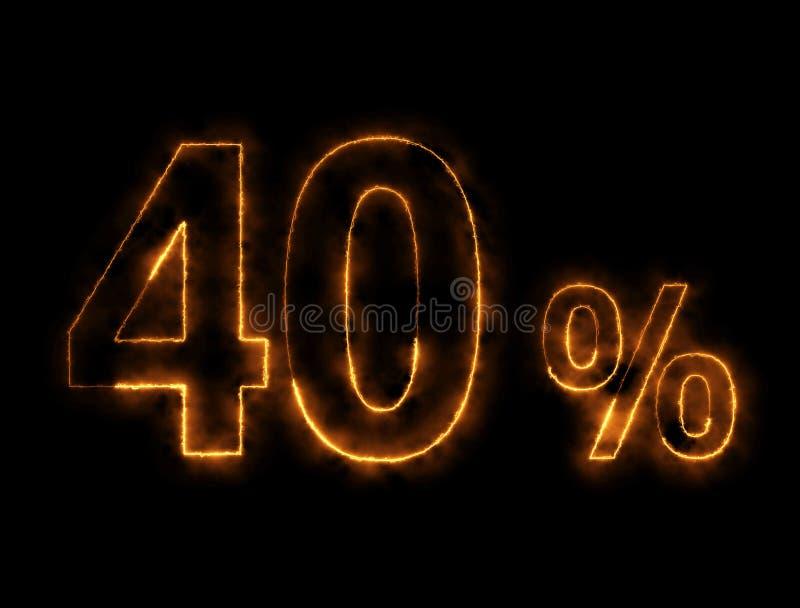 alambre ardiendo del número del 40%, efecto del relámpago foto de archivo libre de regalías