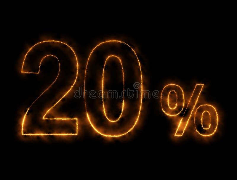 alambre ardiendo del número del 20%, efecto del relámpago imagen de archivo libre de regalías