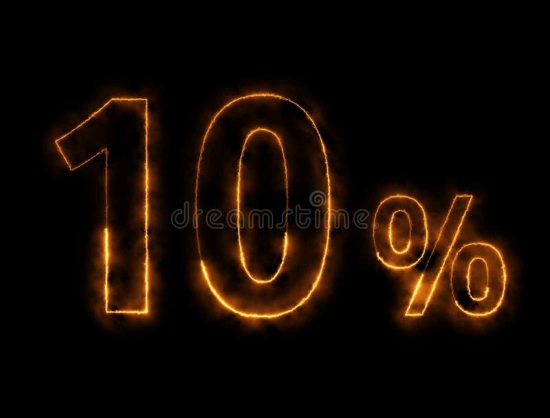 alambre ardiendo del número del 10%, efecto del relámpago fotografía de archivo libre de regalías