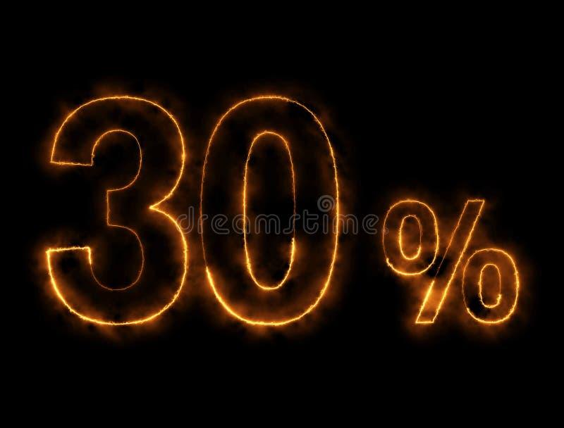 alambre ardiendo del número del 30%, efecto del relámpago imágenes de archivo libres de regalías