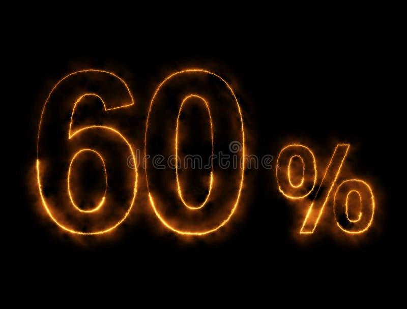 alambre ardiendo del número del 60%, efecto del relámpago foto de archivo