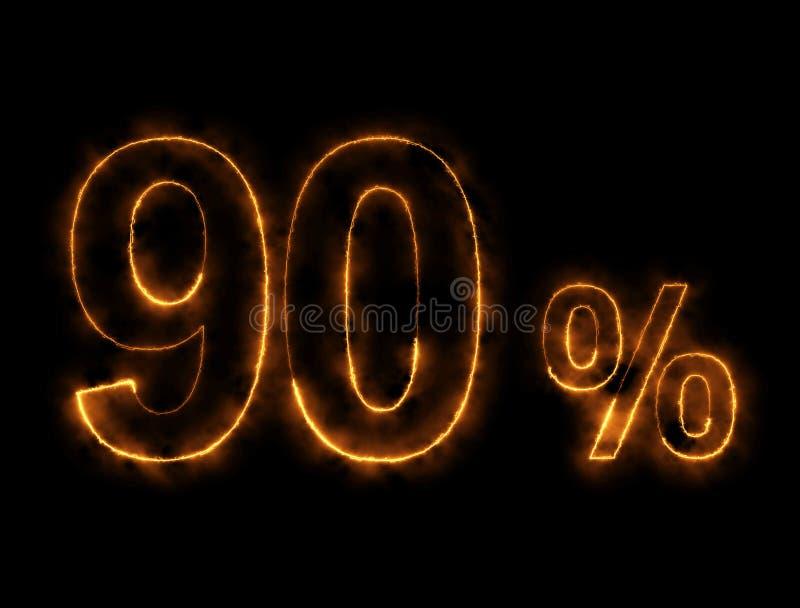 alambre ardiendo del número del 90%, efecto del relámpago fotografía de archivo