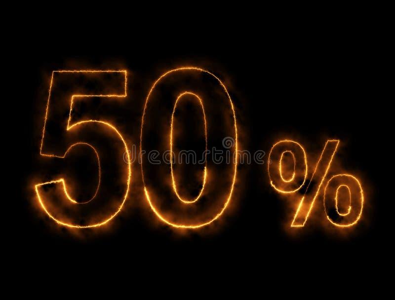 alambre ardiendo del número del 50%, efecto del relámpago imagen de archivo libre de regalías