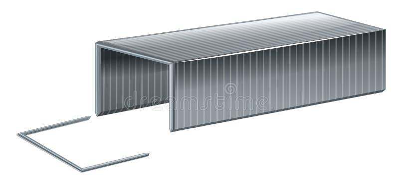 Alambre de la grapa en el fondo blanco stock de ilustración