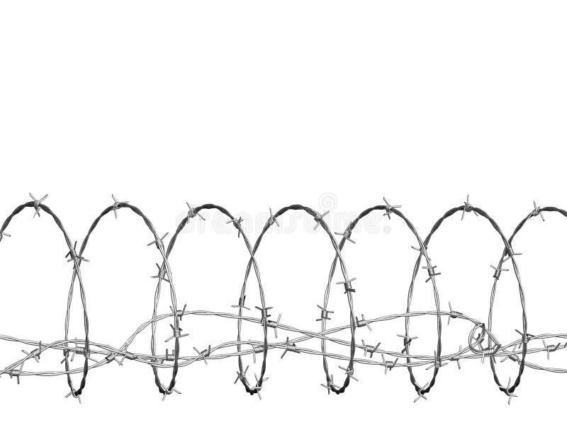 Alambre de púas encrespado en espiral ilustración del vector