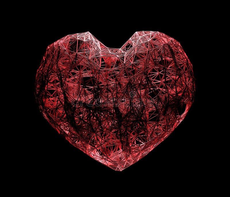 alambre rojo del corazón, enrejado del plexo, realista tridimensional en fondo negro ilustración 3D fotografía de archivo