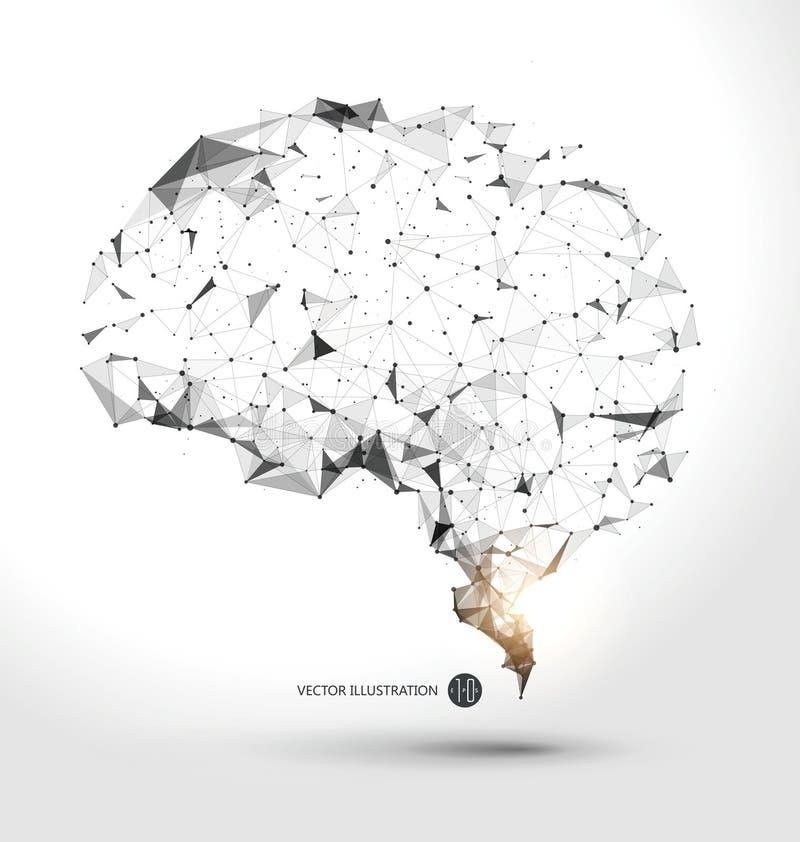Alambres del punto de los gráficos del cerebro, ejemplo del vector stock de ilustración