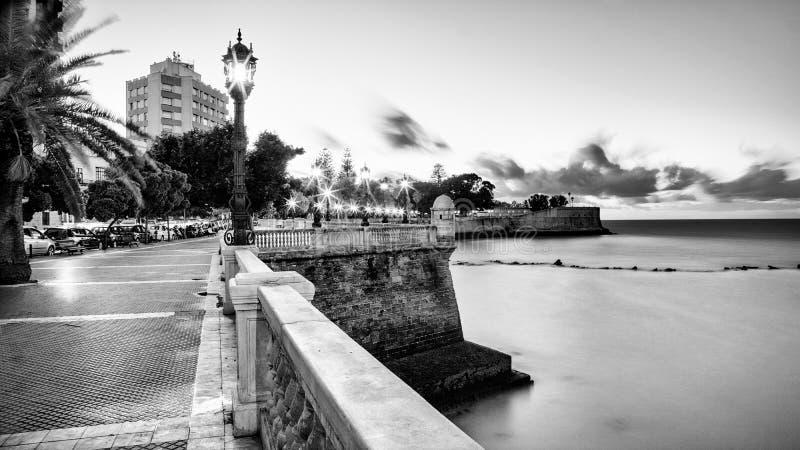 Alameda Apodaca deptak Cadiz Hiszpania Czarny I Biały fotografia stock