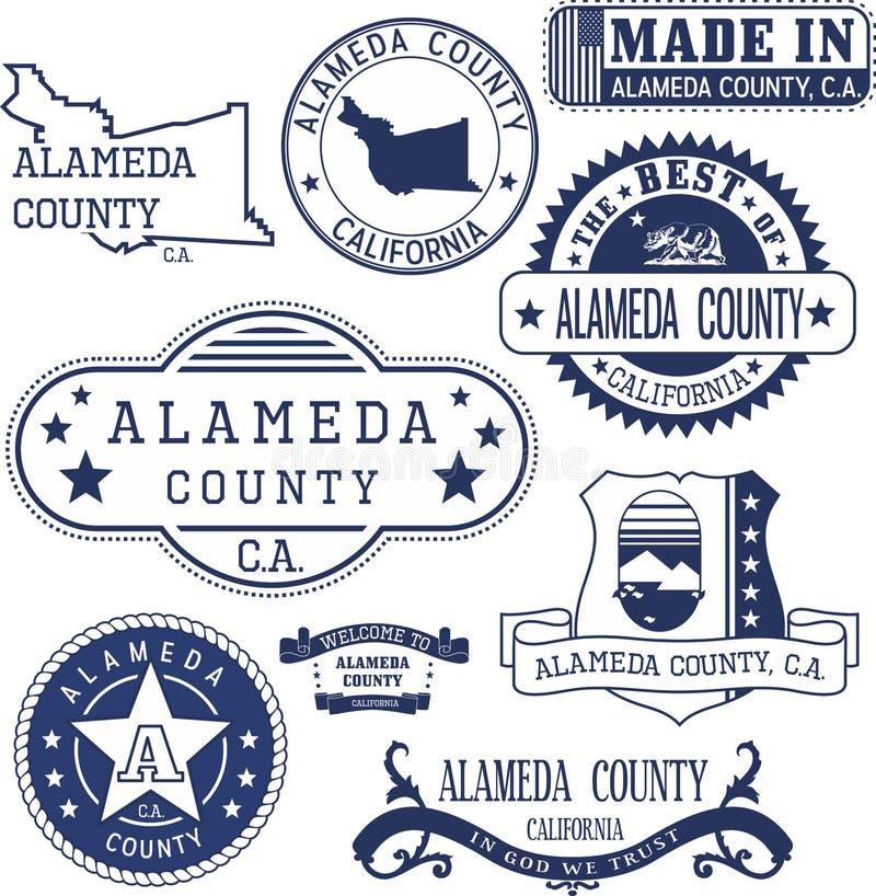 Alameda County, CA Selos e sinais ilustração do vetor