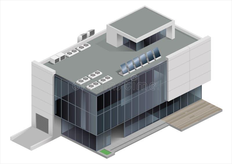 Alameda de compras isométrica del edificio stock de ilustración