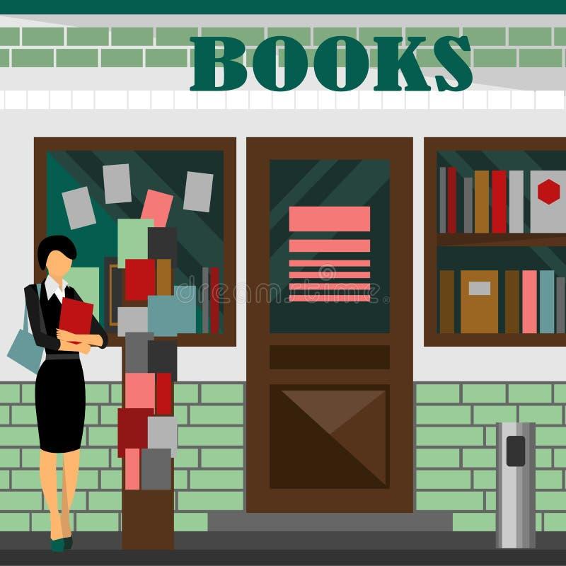 alameda de la librería Edificio comercial de libros stock de ilustración