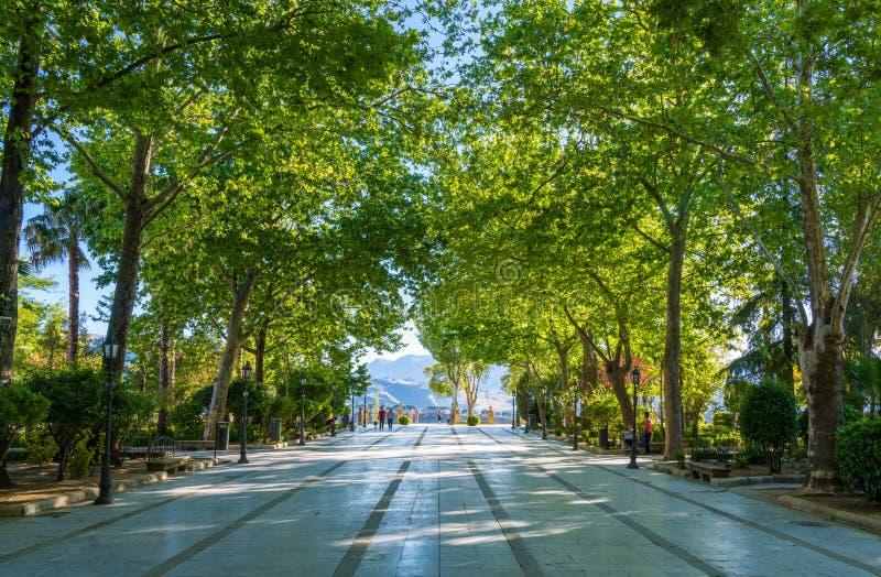 Alameda del Tajo park in Ronda, province of Malaga, Andalusia, Spain. June-05-2019 stock photography