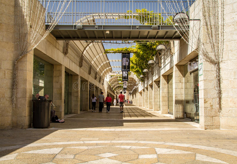 Alameda do Mamilla, avenida do Mamilla de Alrov no Jerusalém, Israel fotos de stock