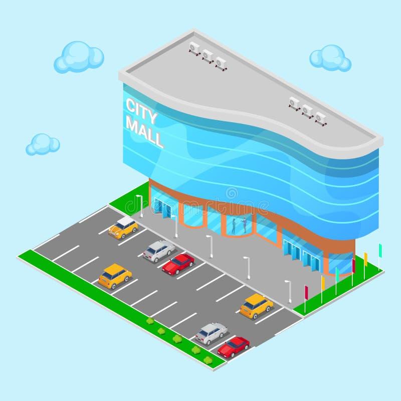 Alameda isométrica da cidade Construção moderna do shopping com zona de estacionamento Vetor ilustração do vetor