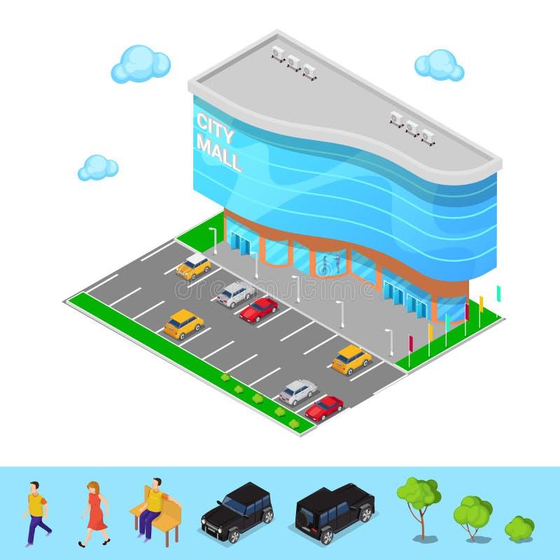 Alameda isométrica de la ciudad Edificio moderno del centro comercial con zona de estacionamiento Vector libre illustration