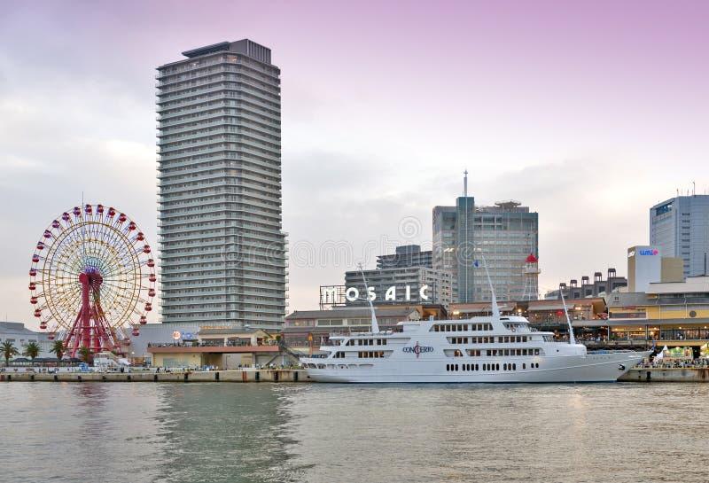 Alameda y parque temático de compras de Kobe Harborland del mosaico de Umie en la costa en el puerto de Kobe, prefectura de Hyogo imagen de archivo
