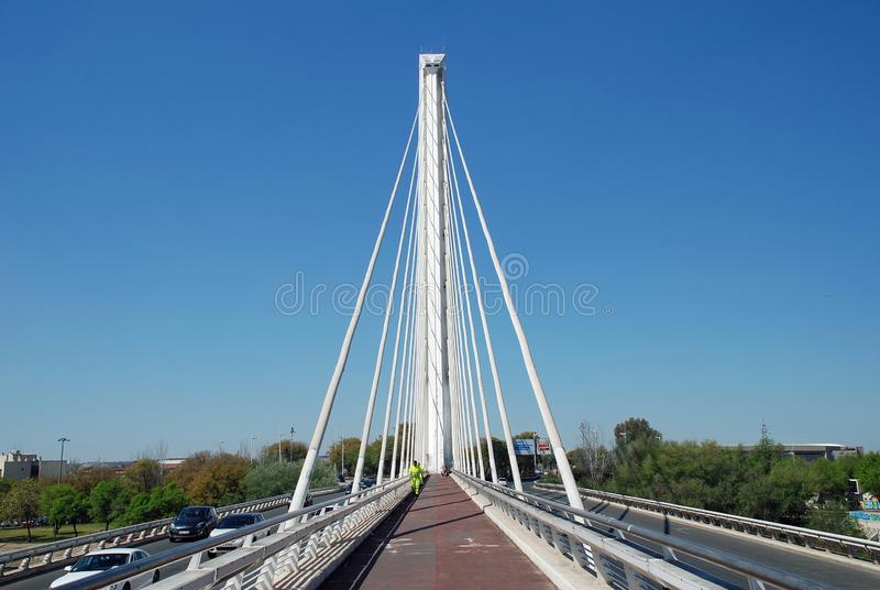 Alamillo bridge in Seville. The Puente del Alamillo Alamillo Bridge crossing to Cartuga island in Seville, Spain on April 3, 2019. Designed by Santiago Calatrava royalty free stock photography