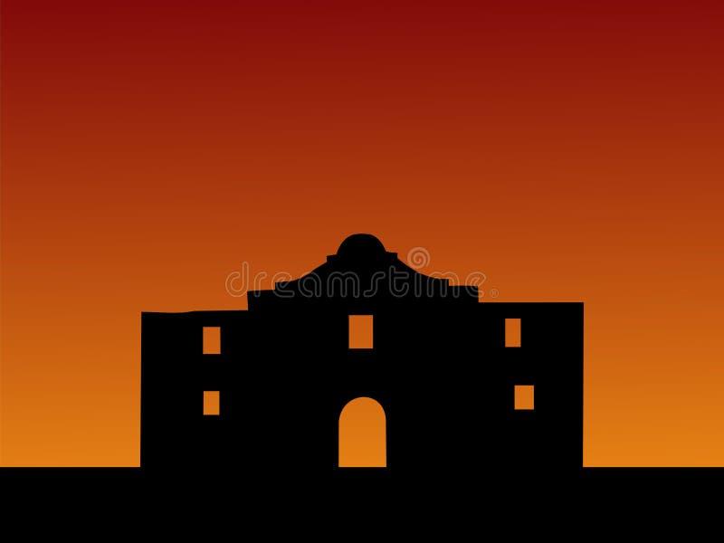 Alamo bij zonsondergang stock illustratie