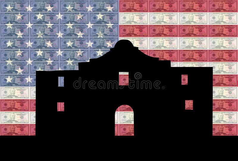 Alamo com bandeira e dinheiro ilustração do vetor