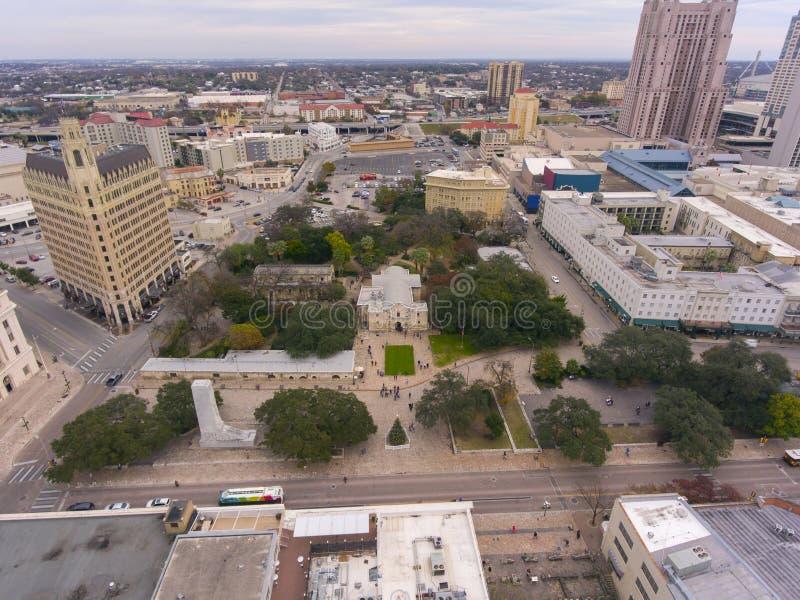 The Alamo Mission aerial view, San Antonio, Texas, USA stock photography