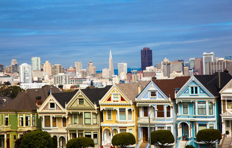 Alamo Square San Francisco California. The famous painted ladies house in San Francisco California with skylin royalty free stock images