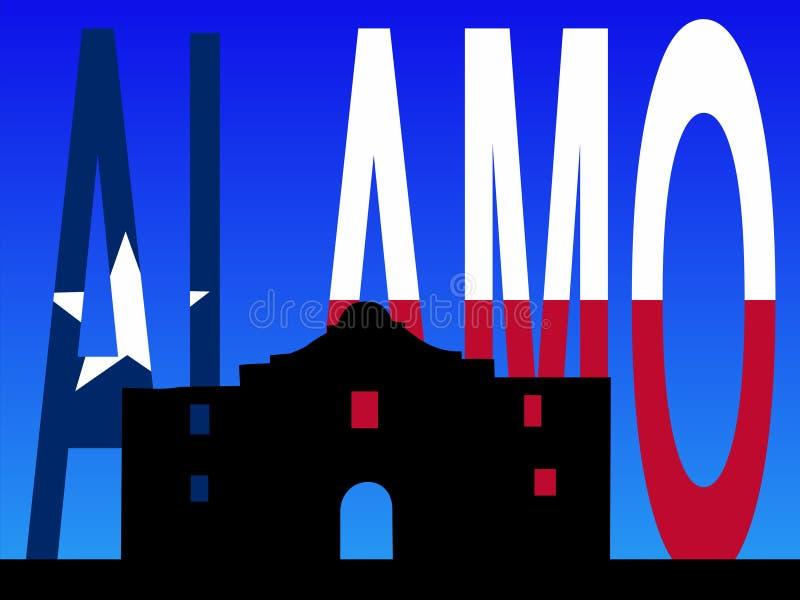 The Alamo with Texan flag royalty free illustration