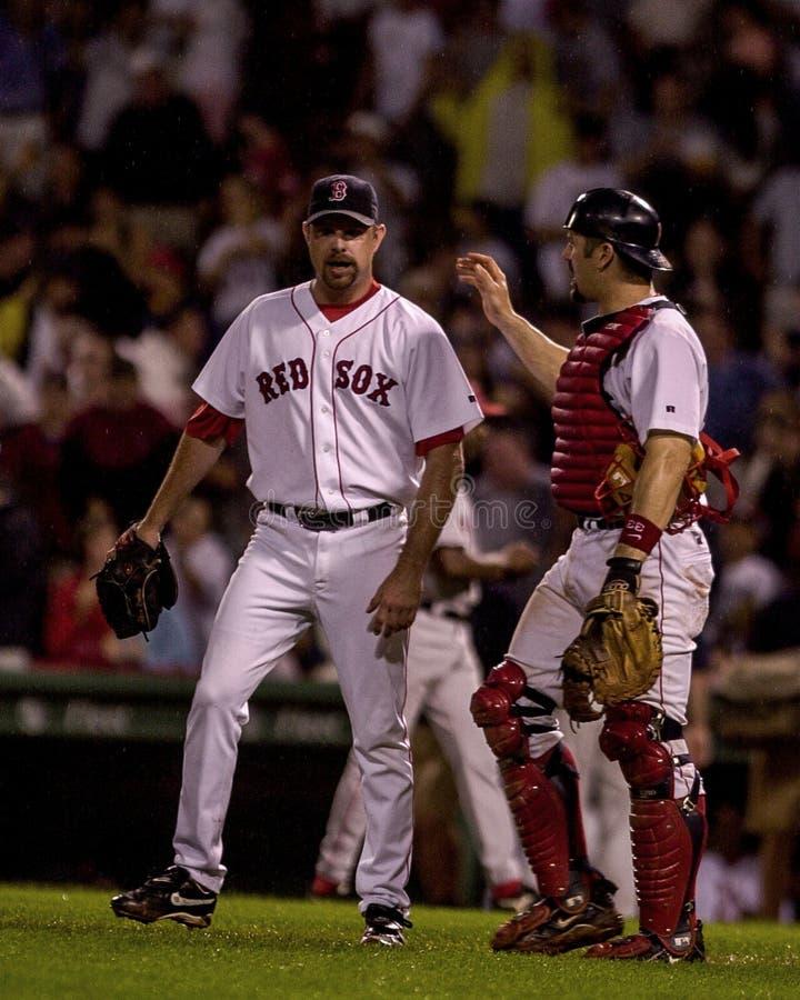 Alan Embree e Jason Varitek, Boston Red Sox fotografia de stock