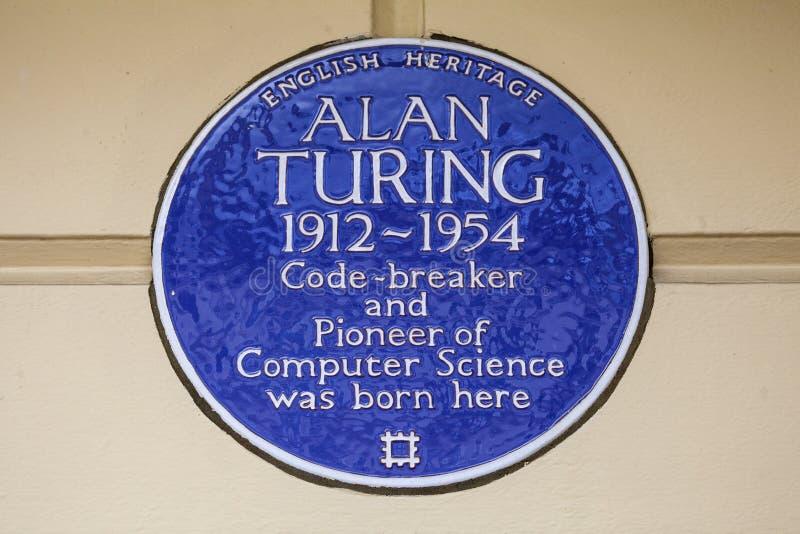 Alan Turing Blue Plaque em Londres imagens de stock