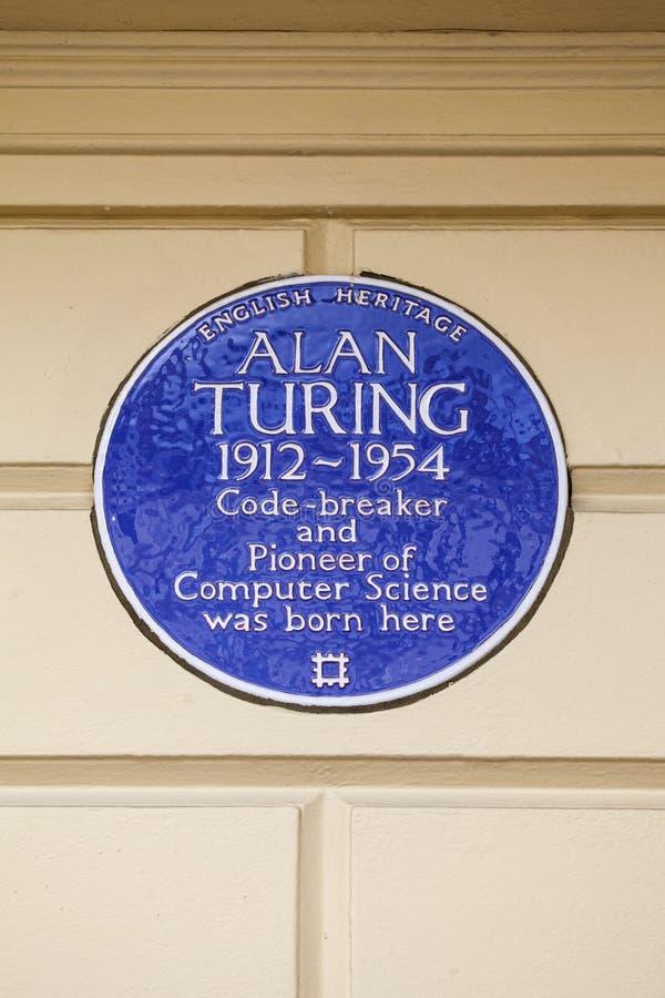 Alan Turing Blue Plaque em Londres foto de stock royalty free