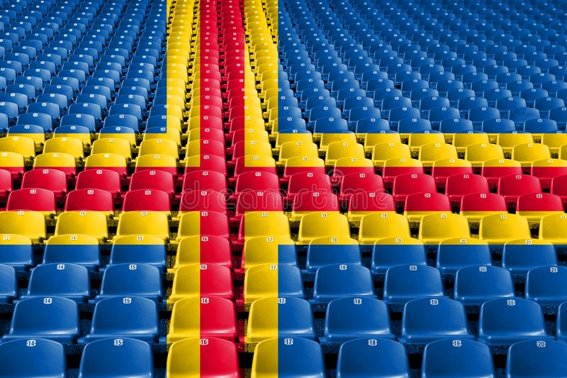 Aland flag stadium seats. Sports competition concept. royalty free stock photo